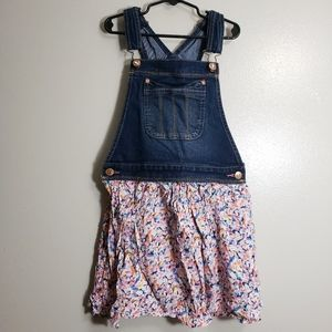 Jordache Denim and Floral Overall Dress